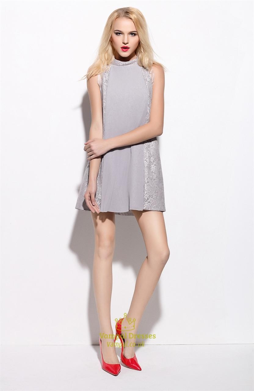 Grey Lace Embellished Sleeveless Short Cocktail Dress   Vampal Dresses