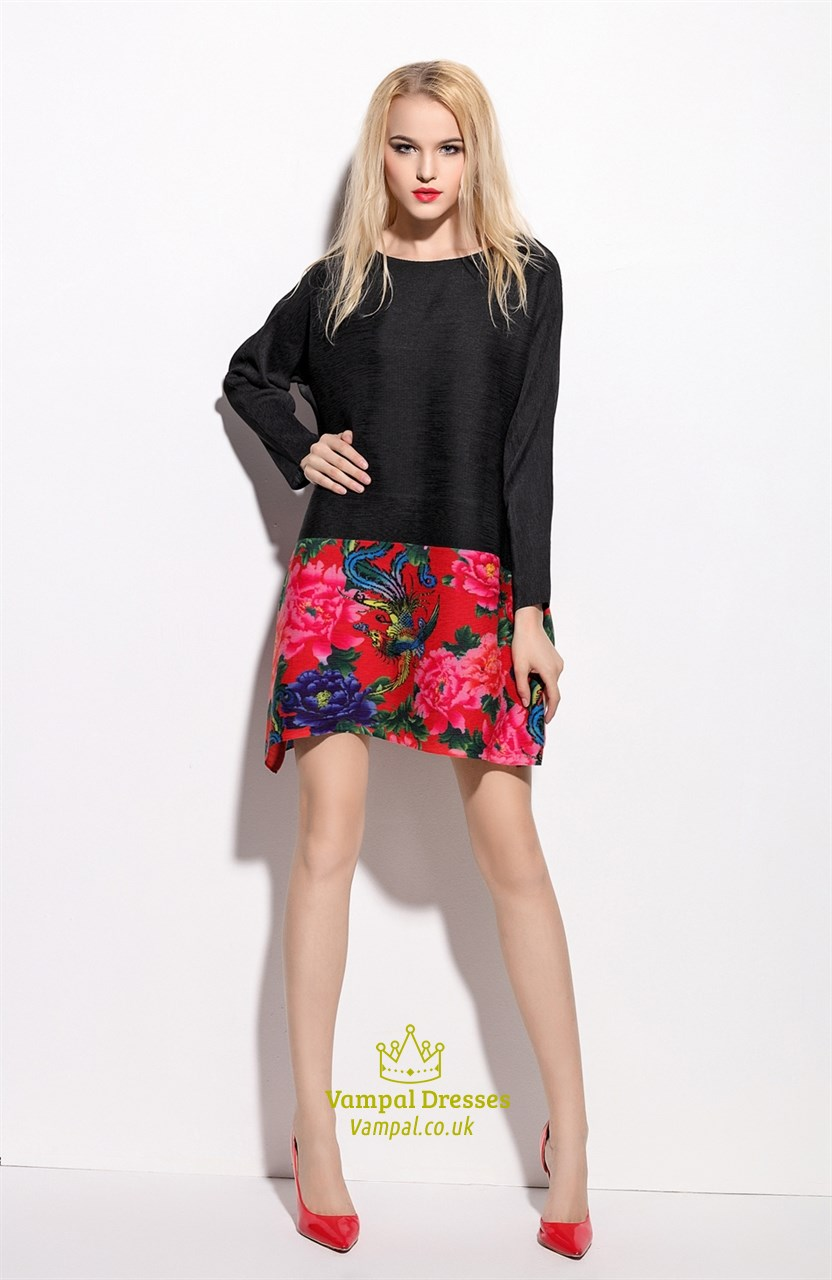 d9f36d30c8 Black Floral Embroidered Long Sleeve Dress - Gomes Weine AG