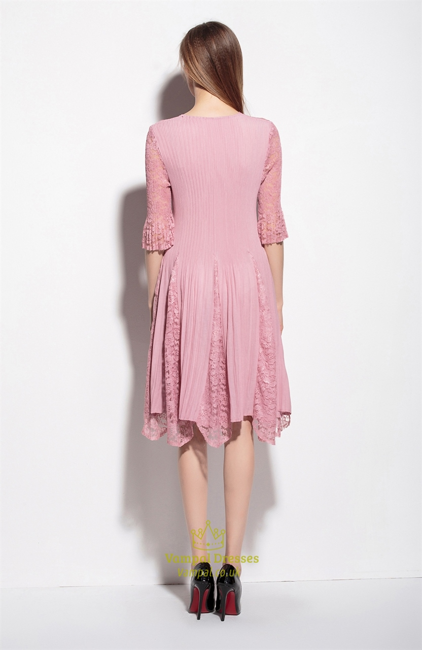 Pink Lace Illusion Neckline A Line Dress With 3 4 Sleeve