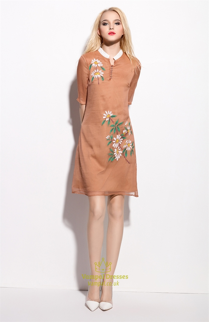 Light Brown Floral Print Sheer Overlay Dresses With