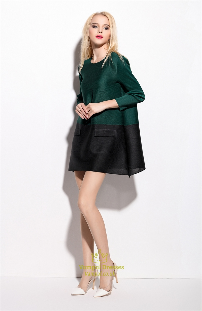 Green And Black Long Sleeve Loose Dresses With Pockets
