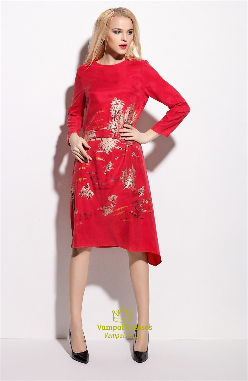 23289ac942b Casual Red Floral Print Knee Length Dress With Long Sleeves SKU -ML16921