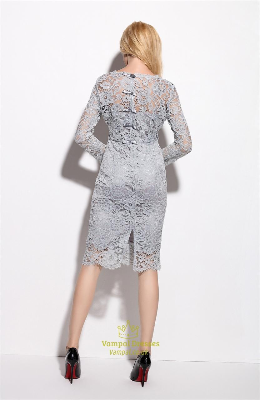 Grey Lace Illusion Neckline Overlay Sheath Dress With