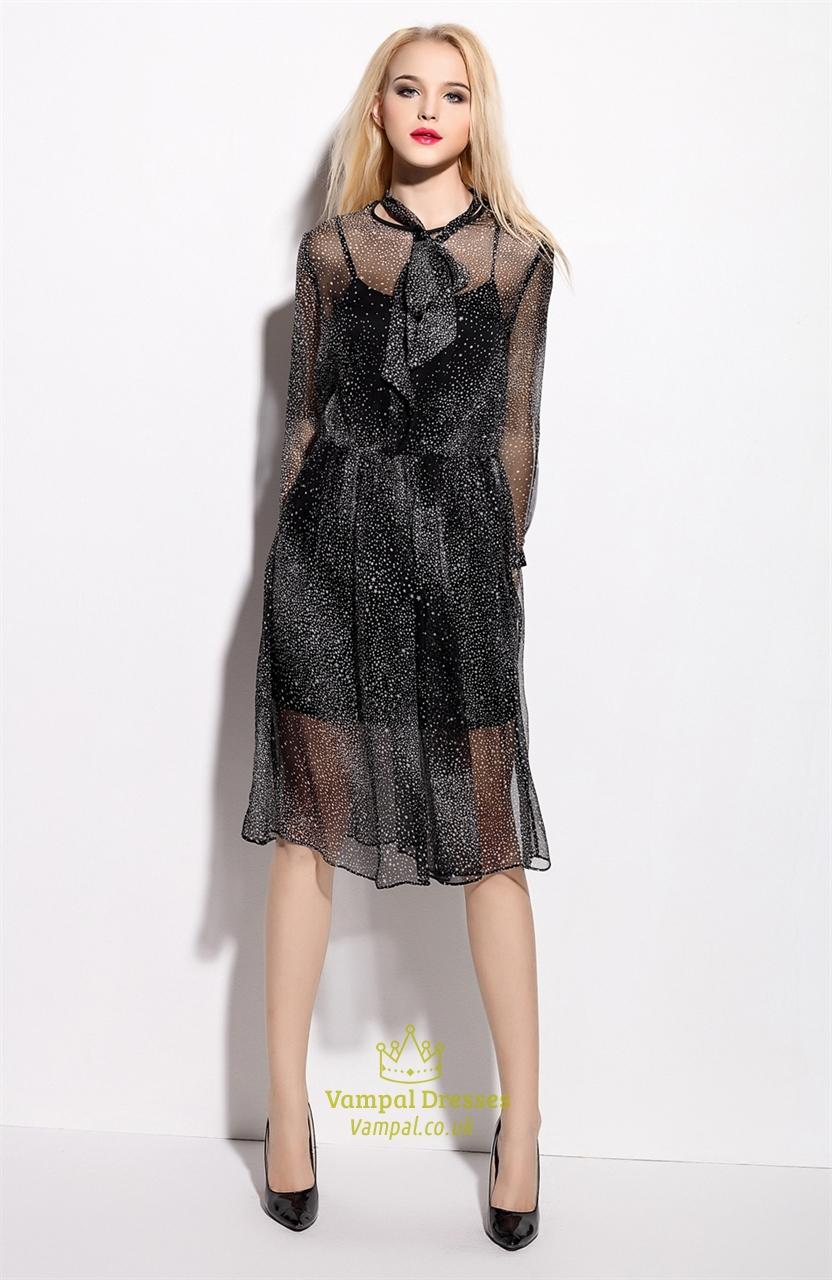 Black And White Polka Dot Chiffon Overlay Dress With Sleeves ...