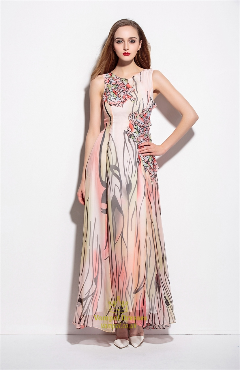 Peach Sleeveless Floral Print Long Chiffon Bead