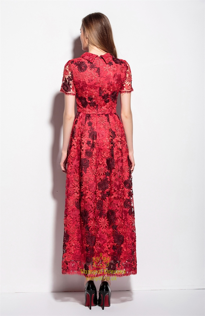 Red Lace Applique High Neck Floor Length A Line Dress