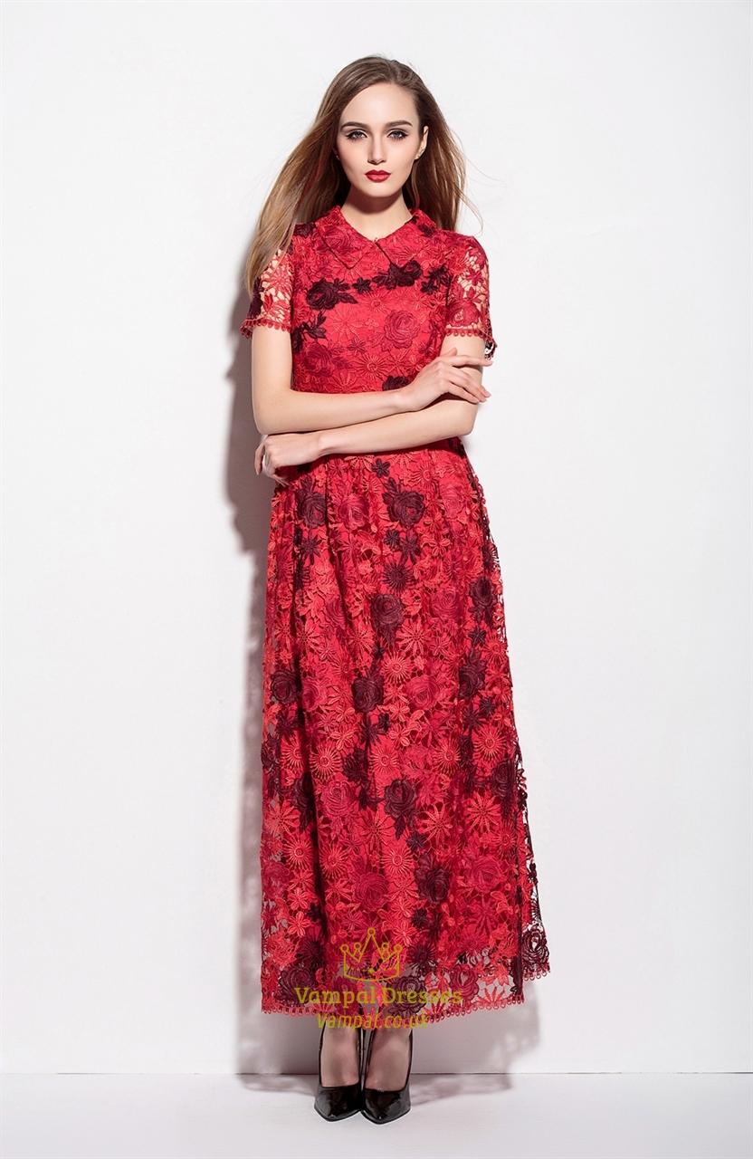 Red Lace Applique High Neck Floor Length A Line Dress