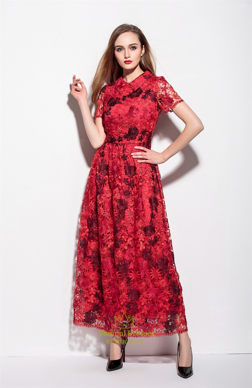 Red Lace Applique High Neck Floor Length A Line Dress ...