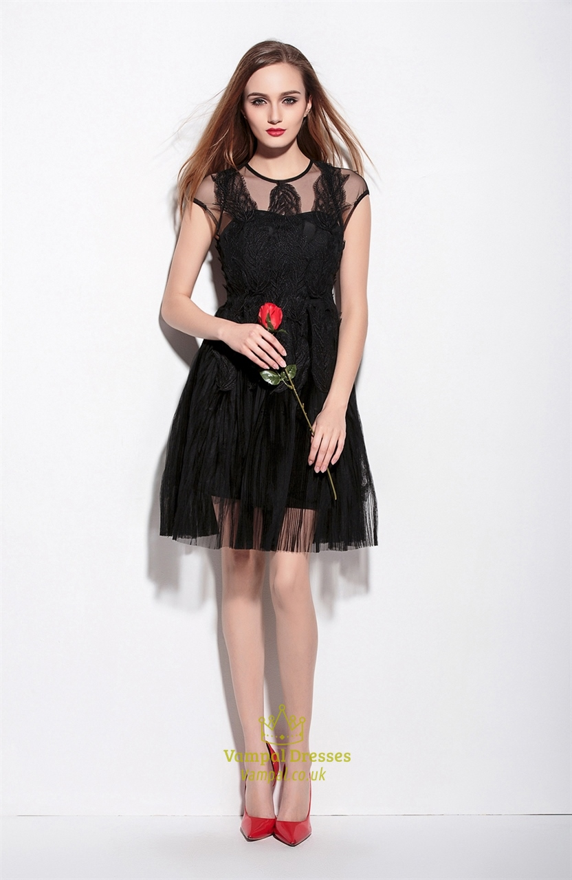 Black Sheer Illusion Neckline Cocktail Dress With Cap ...
