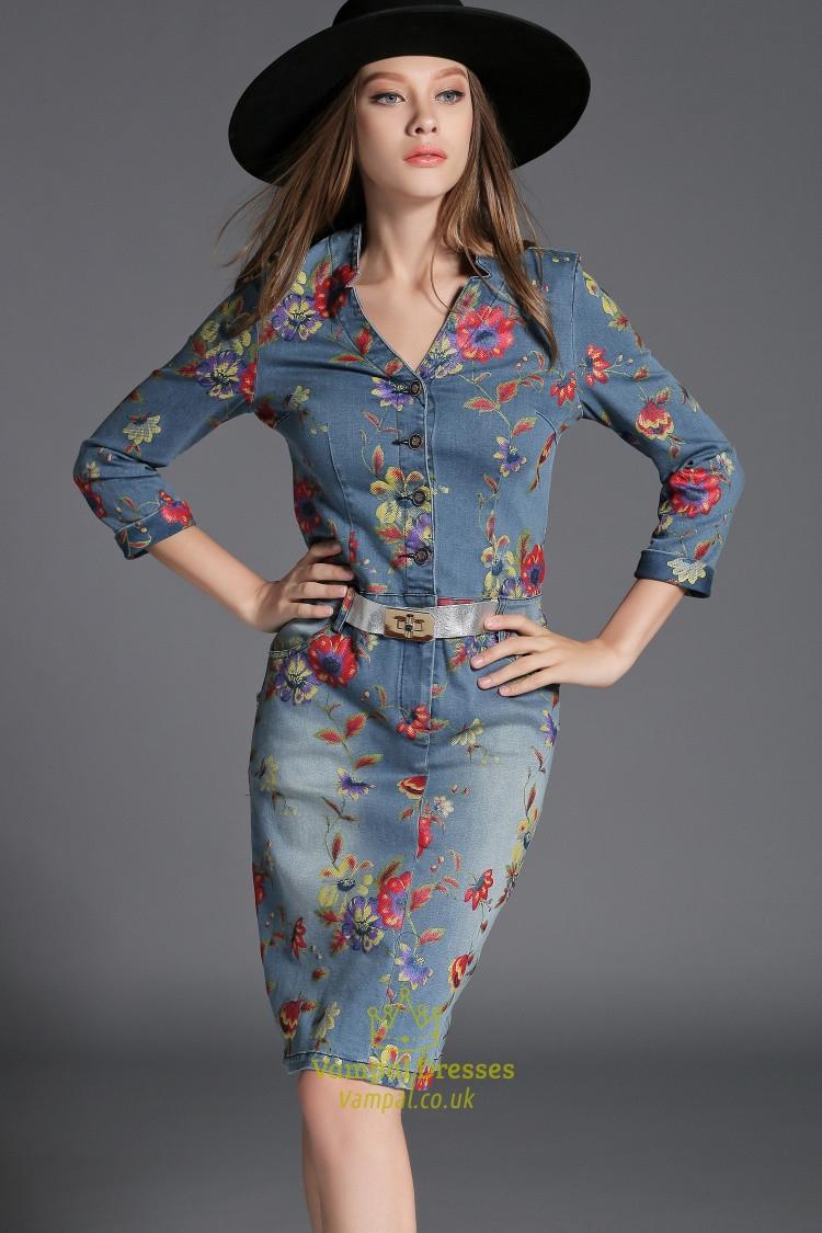 Flower Print Button Closure Long Sleeve Denim Dress For