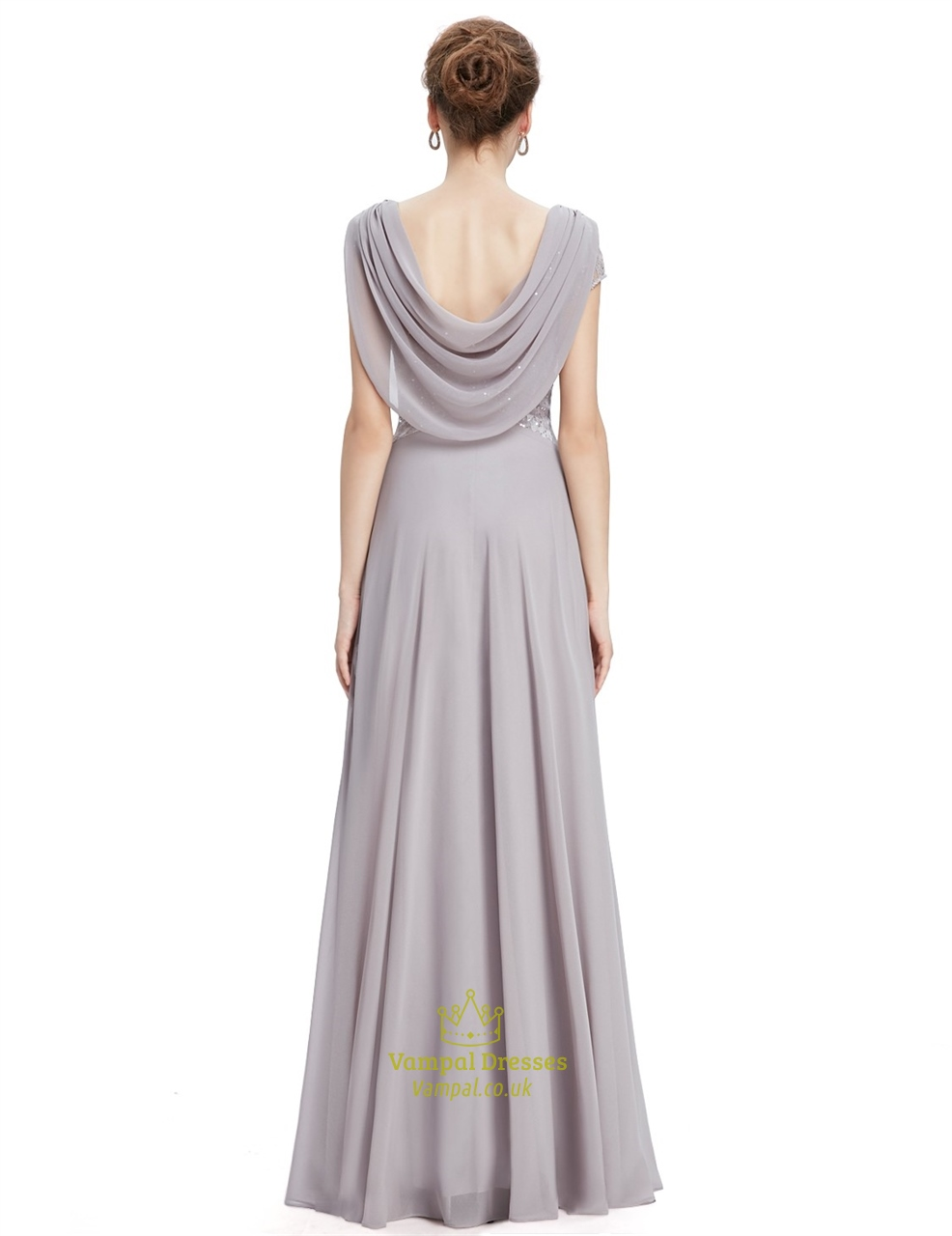 Grey V Neck Long Prom Dresses With Cap Sleeves Vampal