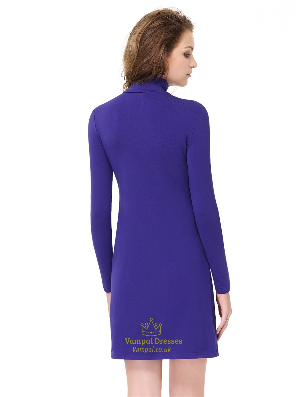 Simple women 39 s royal blue high neck collar long sleeve for High neck tee shirts