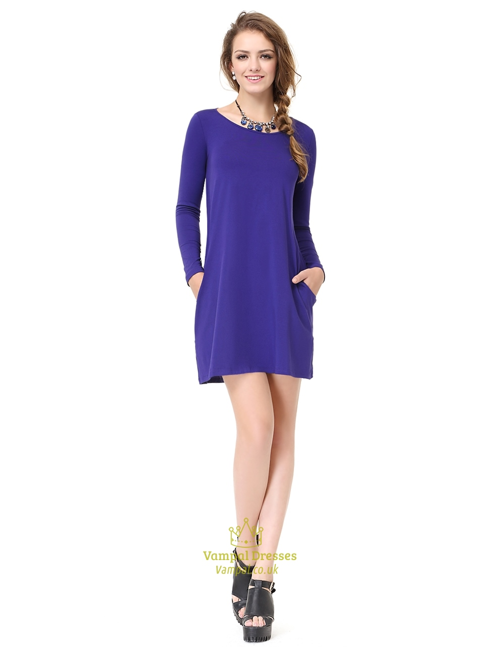 Women 39 s royal blue long sleeve crew neck t shirt dress Women s long sleeve shirt dress