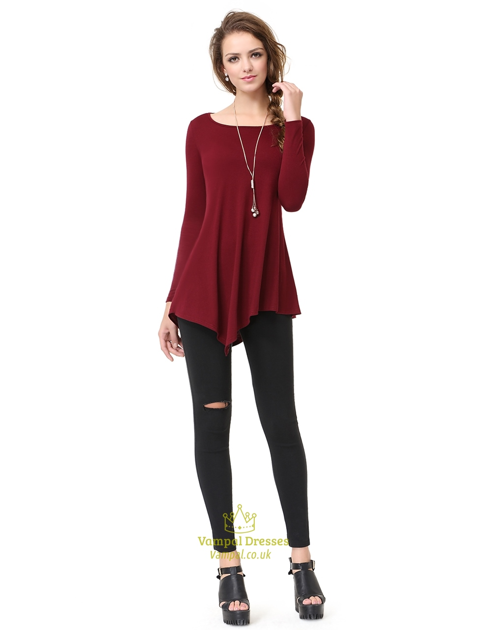 Innovative Women39s Shirt Dress Burgundy  Hologram Product Details Page