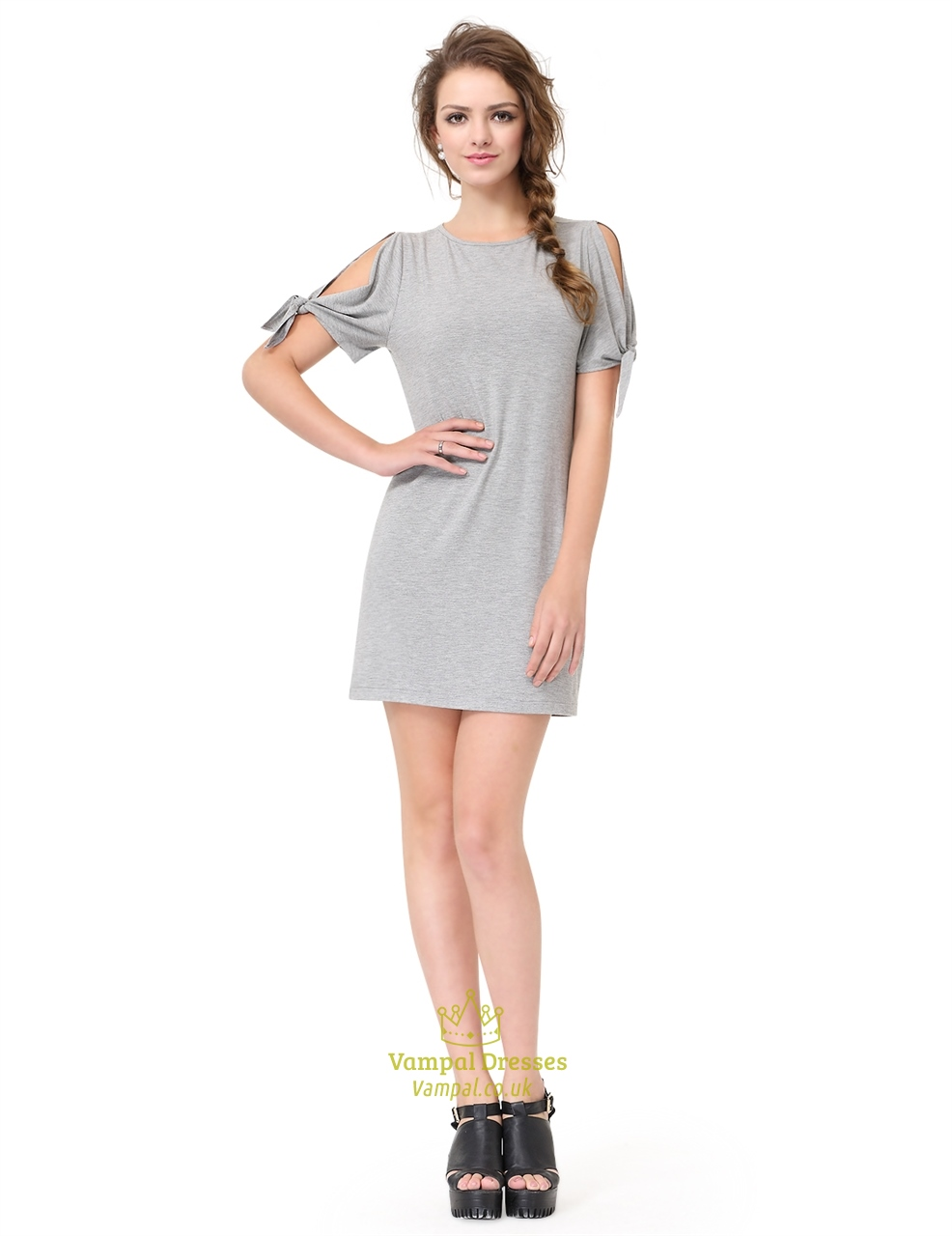 939d177cb2ed Grey Short Sleeve Crew Neck Loose T-Shirt Dress With Cutout Shoulders SKU  -AP006