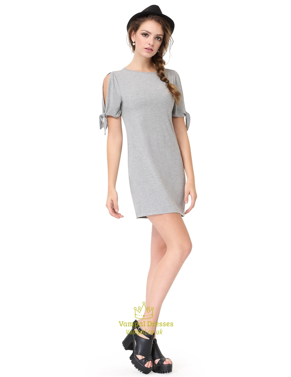 e26df03f4c0e Grey Short Sleeve Crew Neck Loose T-Shirt Dress With Cutout Shoulders