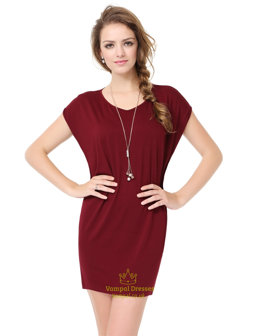 Womens burgundy short sleeve scoop neck t shirt dress uk Women s long sleeve shirt dress