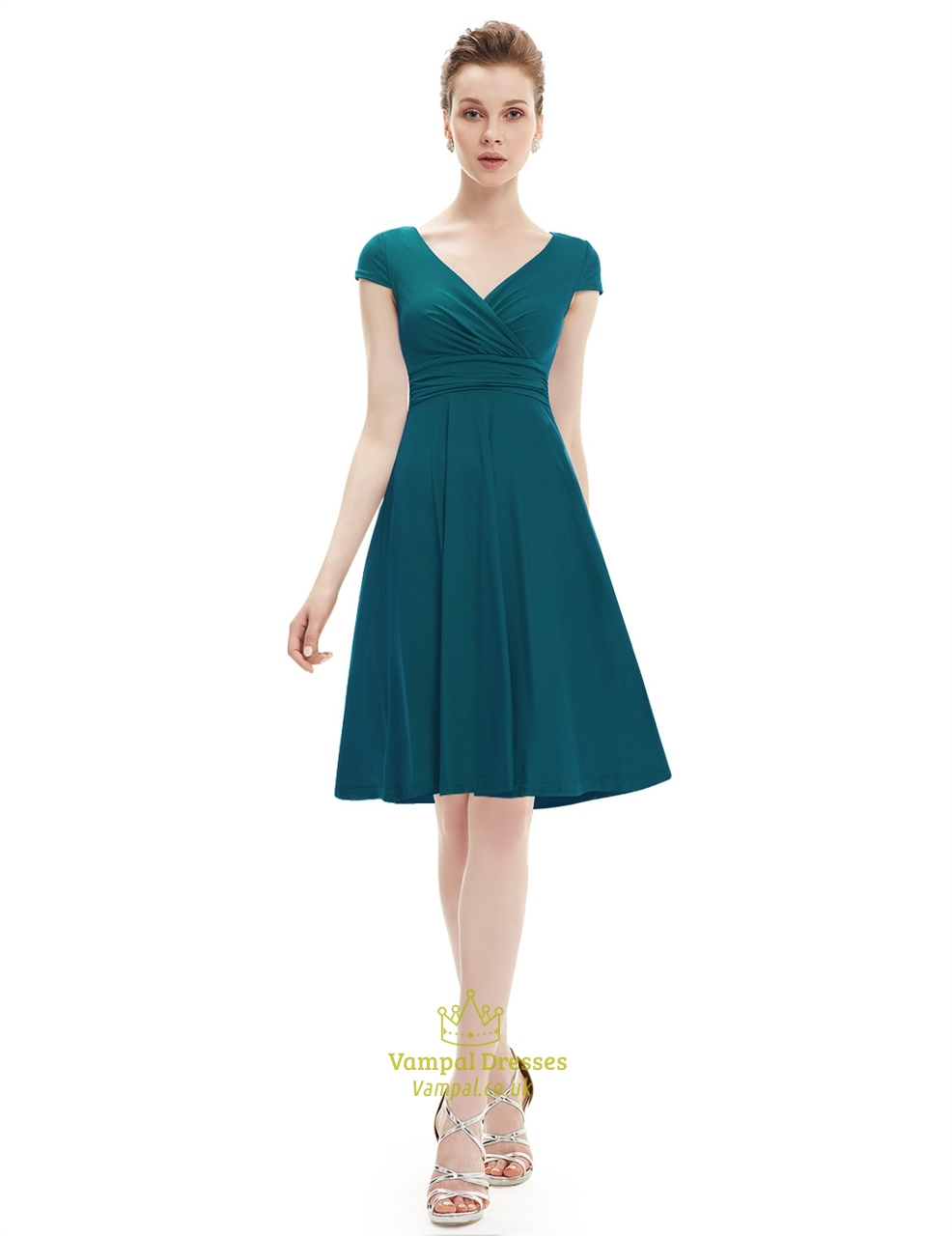 Elegant Emerald Green V Neck Ruched Cap Sleeve Summer Casual Dress ...