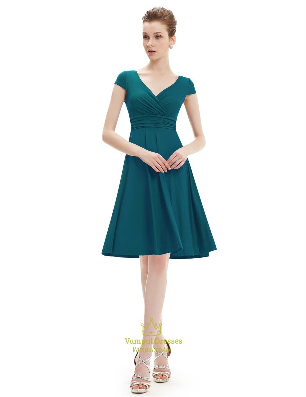 Elegant Emerald Green V Neck Ruched Cap Sleeve Summer ...