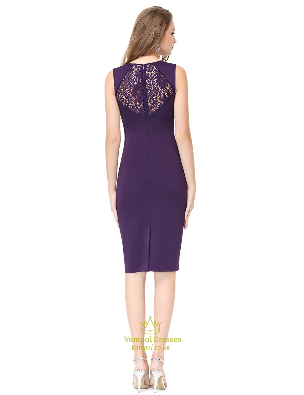 Purple Knee Length Lace Detail Sleeveless Grecian Party Pencil Dress ...