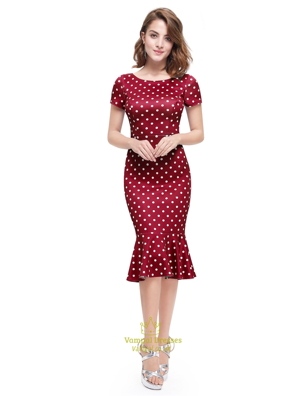 Polka Dot Mermaid Short Sleeve Sheath Casual Summer Dress ...