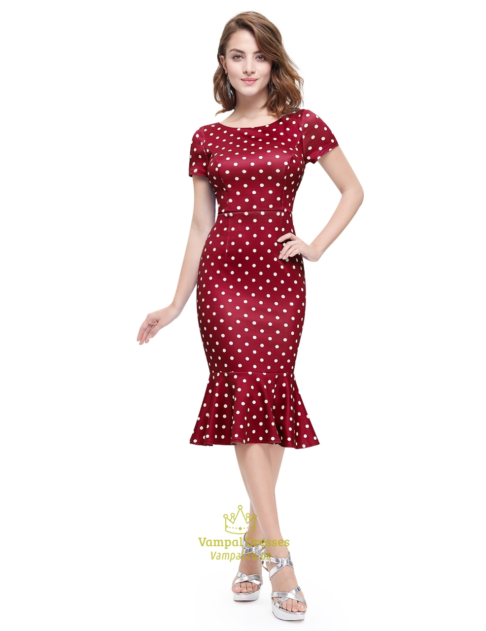 polka dot mermaid short sleeve sheath casual summer dress
