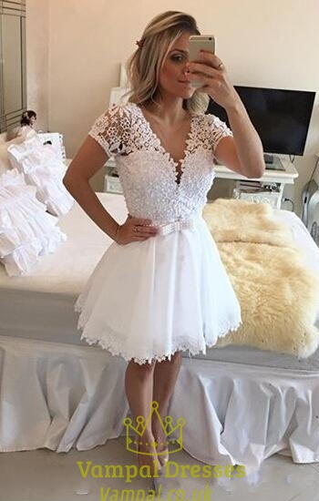Lace Short Sleeve Beaded Bodice Deep V Neck Chiffon Prom Dress