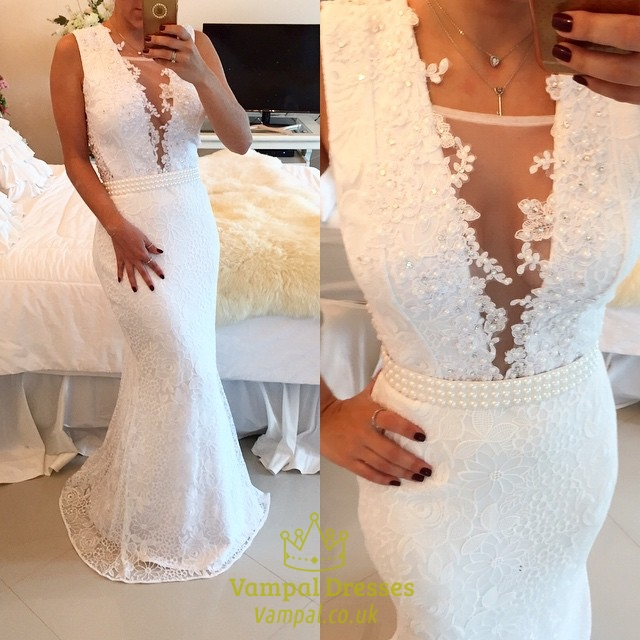 White Sleeveless Deep V Neck Floor Length Lace Mermaid Prom Dress SKU -AP241 b7d6b8773