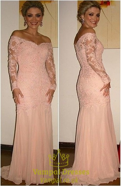 Pink Off The Shoulder Long Sleeve Lace Applique Chiffon