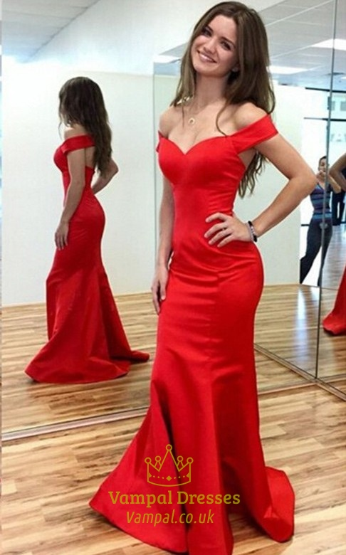 Elegant Red Off The Shoulder Open Back Mermaid Prom Gown Evening