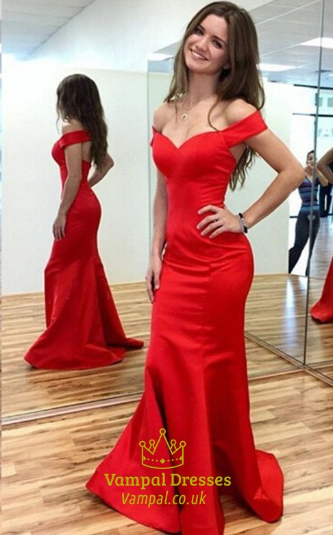 Elegant Red Off The Shoulder Open Back Mermaid