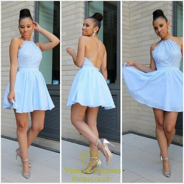 Light Blue Halter Neck Lace Bodice Chiffon Skirt Skater