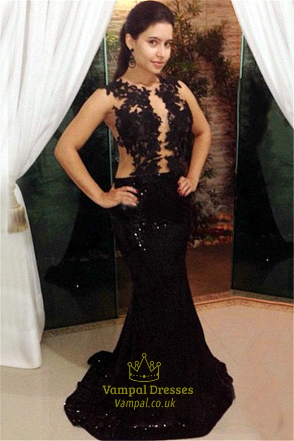 Black Sleeveless See Through Lace Applique Sequin Mermaid