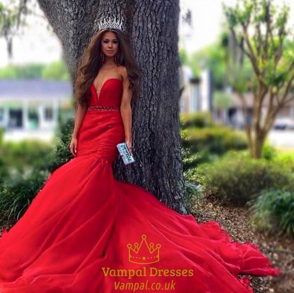 Red Strapless Deep V Neck Beaded Waist Mermaid Long Prom Dress ...