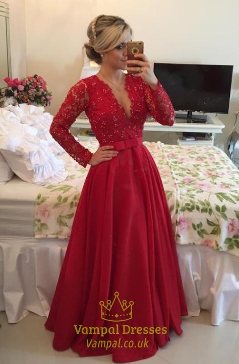 Red Long Sleeve Floral Applique Deep V Neck Lace Bodice Prom Dress ...