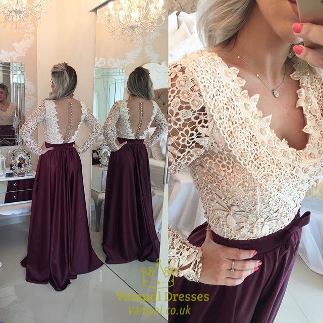 Open Back Chiffon Beaded Bodice Prom Dress With Illusion Long Sleeve ...