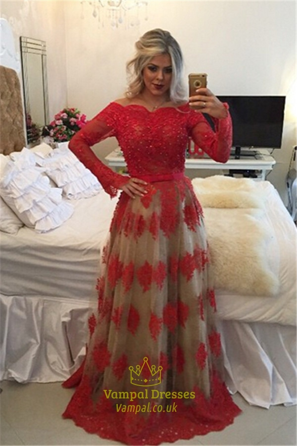Red Off The Shoulder Long Sleeve Open Back Prom Dress With