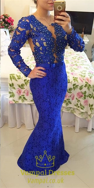 Royal Blue Beaded Bodice Full Sleeve Backless Lace Mermaid