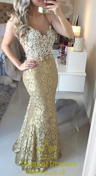 Gold Lace Spaghetti Strap Backless Mermaid Lace Slim Dress