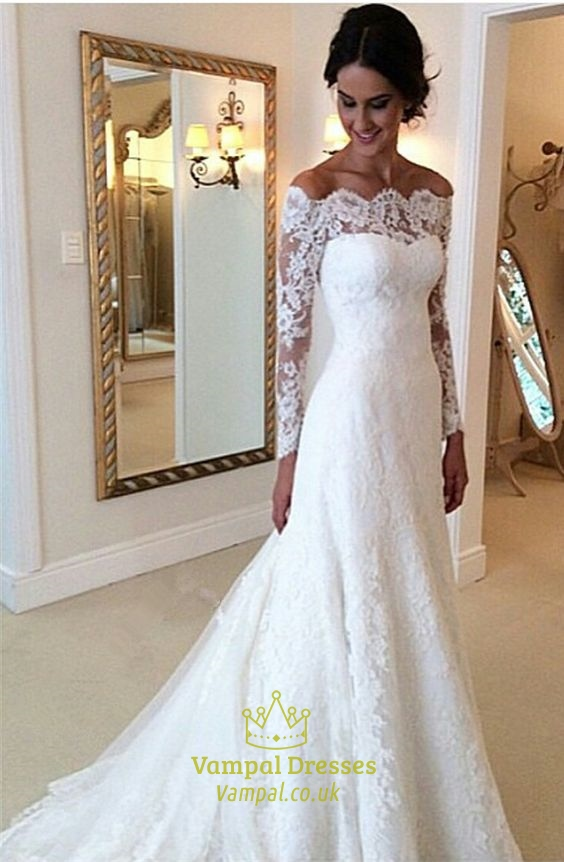Lace Wedding Dress With Sleeves.White Lace Off The Shoulder Sheer Long Sleeve Wedding Dress With Train