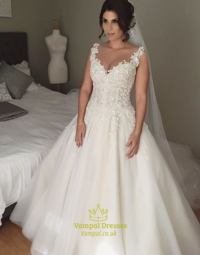 Sleeveless Sweetheart Lace Applique Open Back Ball Gown Wedding ...