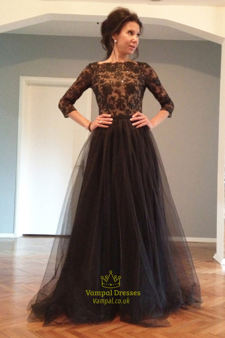 Black Lace Applique Long Sleeve Open Back Floor Length Tulle Prom ...