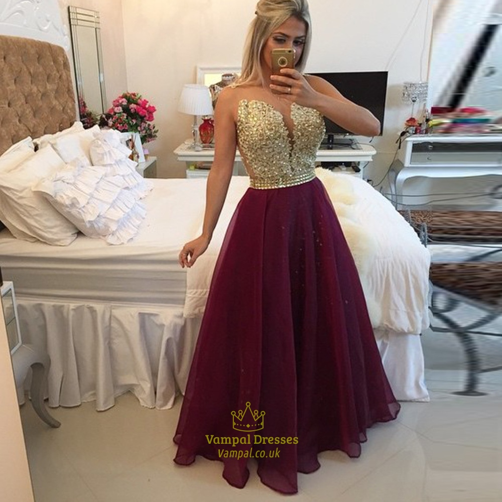 Strapless Gold Sequin Bodice Open Back Burgundy Tulle Prom Dress ...