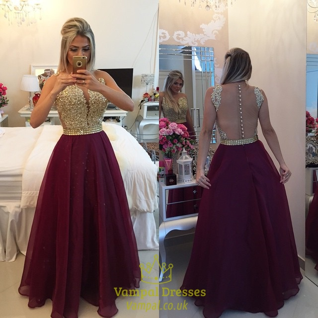 8a00c98091 Strapless Gold Sequin Bodice Open Back Burgundy Tulle Prom Dress ...
