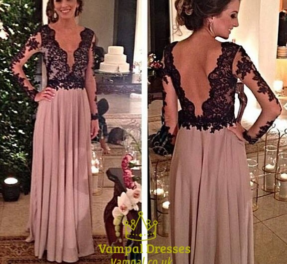 Black Lace Bodice Open Back Deep V Neck Floor Length Chiffon Prom Dress