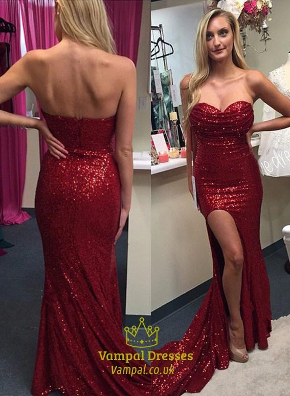 Burgundy Sheath Sequin Strapless Sweetheart Prom Dress