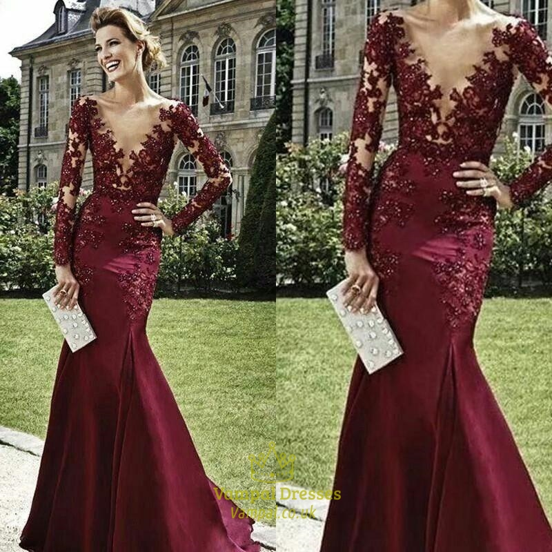 Burgundy Plunge V Neck Long Sleeve Illusion Bodice Mermaid Prom ...