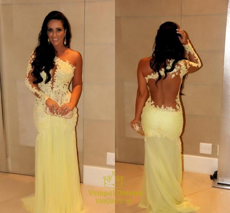 2b9972d72 Yellow One Shoulder Illusion Lace Bodice Applique Chiffon Prom Dress SKU  -AP319