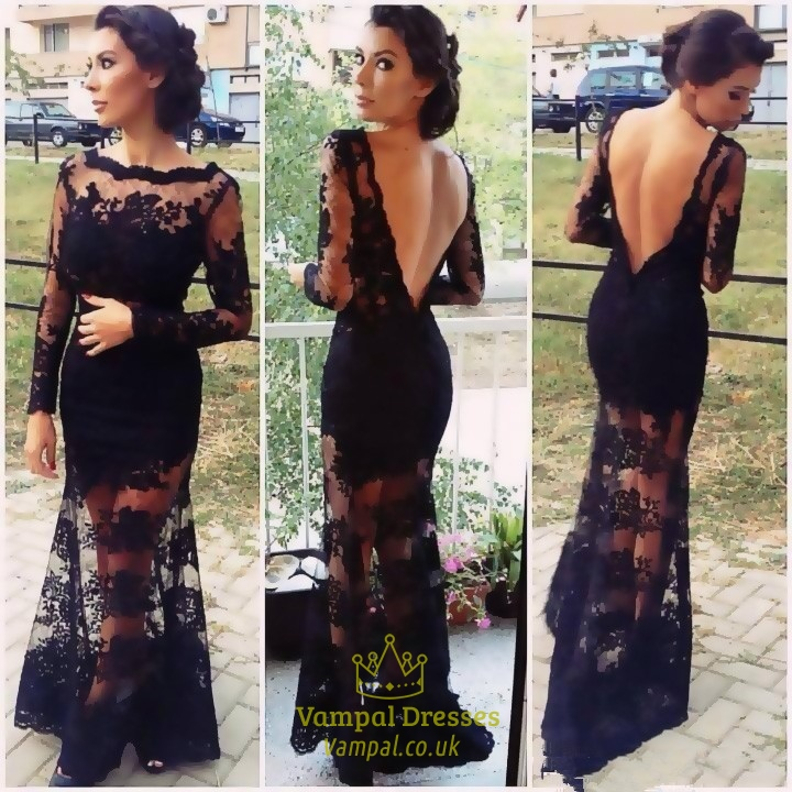 Black Lace Long Sleeve Open Back Sheer Overlay Mermaid Prom Dress ...