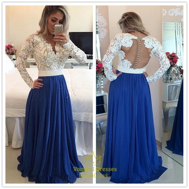 db837360bb5f White Lace Bodice Open Back A Line Blue Chiffon Prom Dress With Beading SKU  -AP359